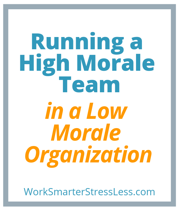 Running a High Morale Team in a Low Morale Organization